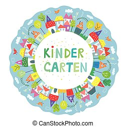 Frame for kindegarten banner with funny town, trees and birds