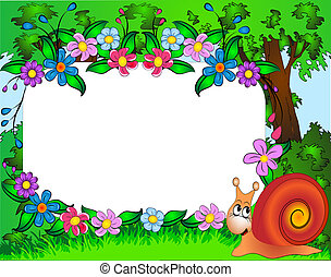 frame for photo snail and flower - illustration frame for ...