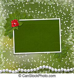 Frame for photo with pearls and bunch of flower