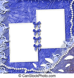 Frame for photo with pearls and lace on the leafage ornamental background