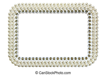 frame for photo with pearls isolated on white background