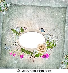 Frame for photo with roses, leaf and butterfly