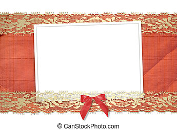 Frame for photos with gold lace and red bow