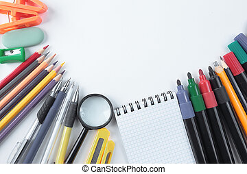 frame for text of school supplies on a white background