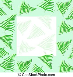 Frame for text or photo with green tropical leaves