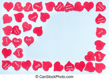 Frame for valentine card with scattered red hearts background white with place for text love happy