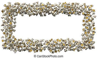 frame formed by popcorn pieces. 3d illustration