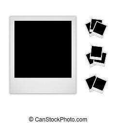 frame., fotografia, polaroid, odizolowany, ilustracja, tło., wektor, czysty, biały, style.