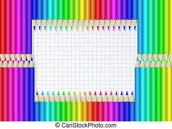 crayons - frame from colorful crayons on checkered sheet