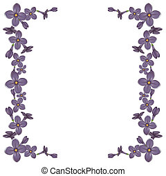 Frame from detailed realistic lilac flowers. Vector...