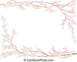 Frame from flowering branches of cherry tree