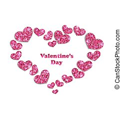 Frame from Pink Hearts with Glitter Background