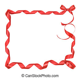 frame from red ribbon with a satin bow isolated on white background
