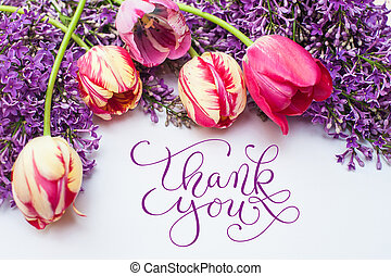 frame from tulips and lilac with words thank you