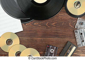 Frame from vintage musical discs and records.