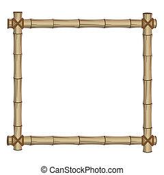 frame, gemaakt, bamboe