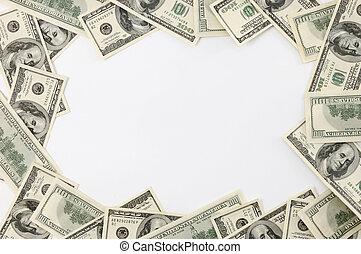 frame, gemaakt, dollarrekeningen