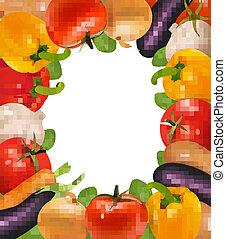 frame, gemaakt, groentes