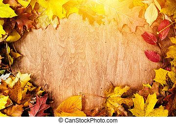 frame, gemaakt, van, dalingsbladeren, op, wood., herfst, achtergrond
