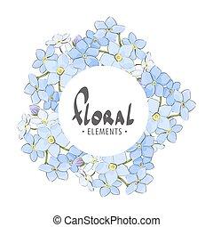 frame, gemaakt, van, delicaat, blauwe bloemen