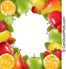 frame, gemaakt, van, fris, sappig, fruit., vector.