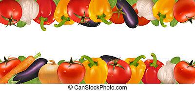 frame, gemaakt, van, groentes