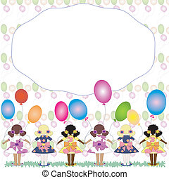 """Frame :\\\""""Girls with balloons\\\""""."""