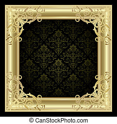 Gold frame on the black background