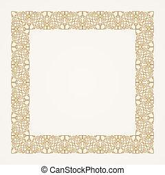 frame., gold, weinlese, vektor, blumen-, barock