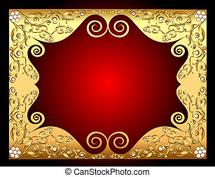 frame gold with pattern by pearl
