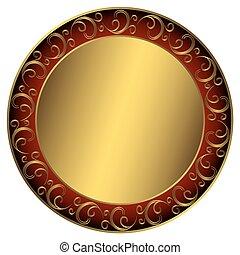frame, golden-red-black