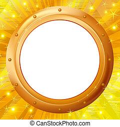 frame, goud, achtergrond, patrijspoort