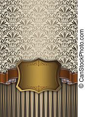 frame., goud, decoratief, achtergrond