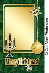 frame, gouden, kerstmis, groene