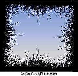 frame, gras, silhouette
