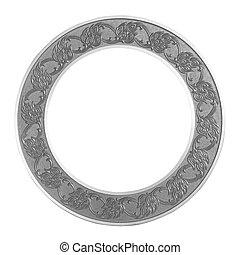 Frame gray circle on isolated white background.
