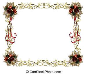 frame, grens, kerstmis, zich verbeelden