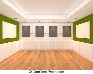 frame, groene, kamer, lege, galerij