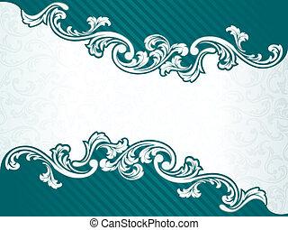 frame, groene, retro, franse