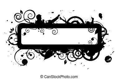 frame, grunge, silhouette