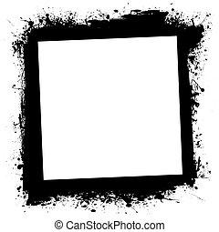 frame, grunge, splat, inkt