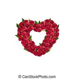 Frame heart shape, rose flowers wreath