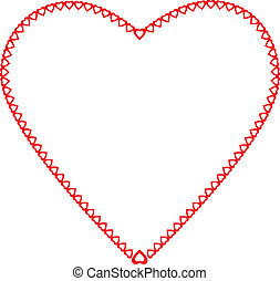 Frame heart the little hearts of red color on a white background