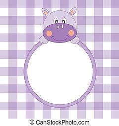 Frame hippopotamus boy - Baby girl arrival announcement....