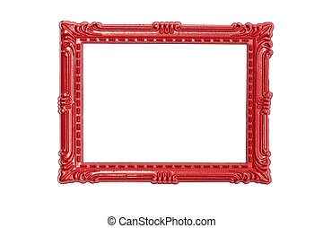 Frame - Horizontal red frame in classical style on a white...