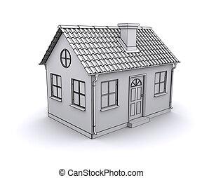 Frame house 3d model of a white