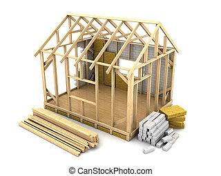 frame house construction - 3d illustration of frame house...