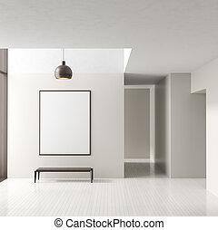 frame., illustration., ポスター, 現代, の上, 明るい, 空, 背景, interior., 内部, 3d, mock, 部屋