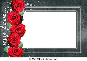 frame, in, grunge, stijl, met, rozen