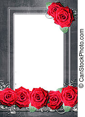 frame in grunge style with  roses